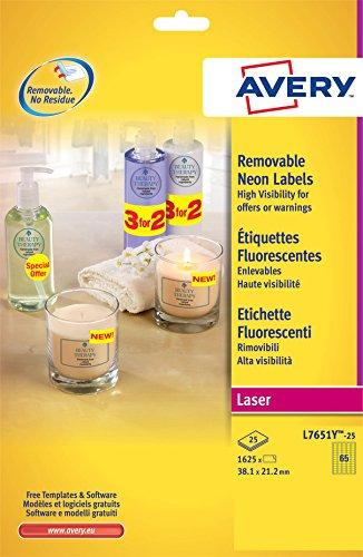 Avery L7651Y-25 Mini Etichette Fluorescenti, 65 Pezzi