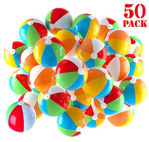 Palloni da spiaggia gonfiabili da 5 pollici per piscina, spiaggia, feste estive, regali e decorazioni | palline da spiaggia colorate a 50 colori (50 palline)