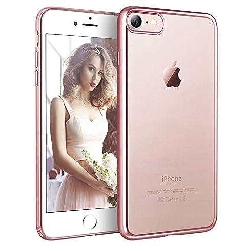 Coque iPhone 7 Transparent Clair Gel Silicone [Ultra Slim] + [Anti-Rayures] + [Anti-Choc] Bumper en TPU Souple Coque Clair Étui Housse pour Apple iPhone 7 - 4.7 Pouces 2016 ( Noir, Rose Or , Or, Argent )