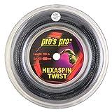 Spro Pro's PRO Hexaspin Twist Corda per Racchetta da Tennis - 200m Bobina - 1.25mm - Nero