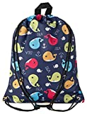 Aminata Kids - Kinder-Turnbeutel für Junge-n und Mädchen mit süße Wale Wal-Fisch Sport-Tasche-n Gym-Bag Sport-Beutel-Tasche dunkel-blau