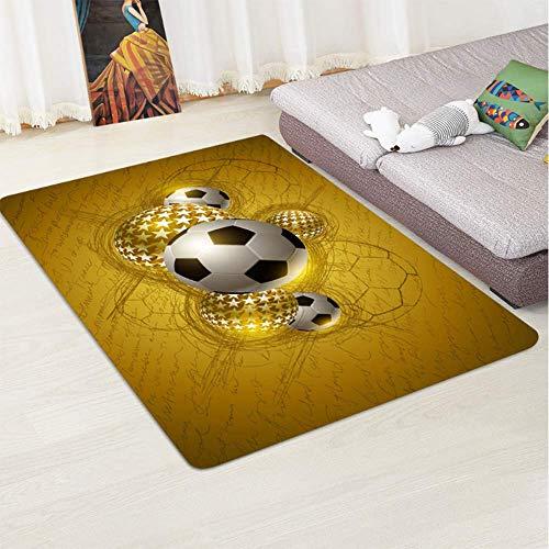 AWLLY Flanell Fußball-Muster Rutschfest Verschleißfester Teppich Kinderspielmatte Teppich Baby Krabbeln Zimmer Dekoration