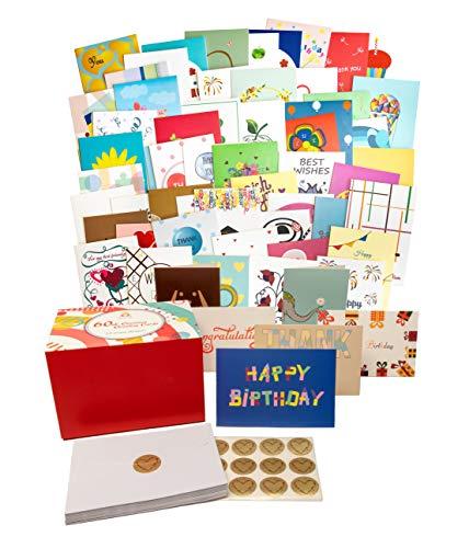 AXALIR 60 originelle einzigartige Grußkarten Set für alle Anlässe mit 60 Perlmutt Umschlägen & 60 goldfarbenen Herz-Aufklebern in magnetischer Geschenkbox