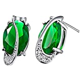 JewelleryClub 925 Plata Verde Swarovski Elements Cristal Esmeralda Verde Oval En Forma De Huevo Pendientes Para Mujer