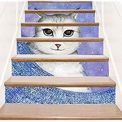 WYHK Gato autoadhesivas Pegatinas de escalera de vinilo extraíbles 18cm×100cm×6 piezas