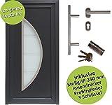 kuporta Kunststoff Haustür nach Maß Paras Size außen anthrazit/innen weiß DIN links nach außen öffnend mit Stoßgriff-Set