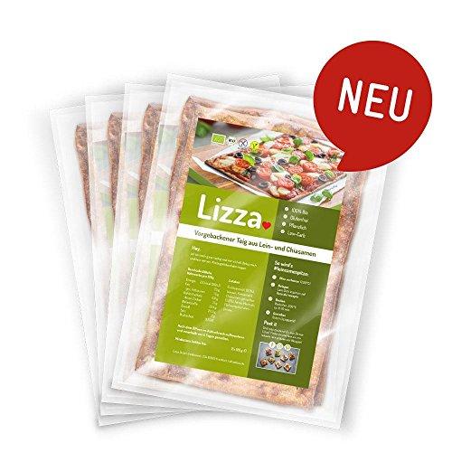 Lizza Low Carb Pizzaboden aus Leinsamen und Chiasamen. Bio. Glutenfrei. Vegan. (8 x 125g)
