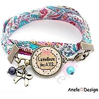 Bracelet liberty Cadeau pour AVS - La meilleure des A.V.S. - école rose bleu étoile noir