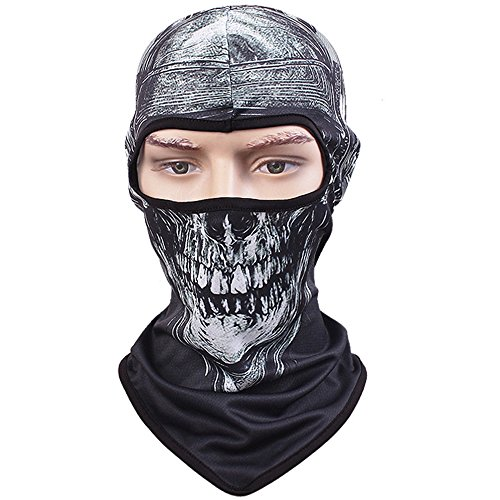 Tclian maschera con teschio, passamontagna, bandana con scheletro/fantasma da motociclismo, passamontagna intero, maschera di protezione contro i raggi uv ad asciugatura rapida, traspirante, maschera tattica, militare, per softair, paintball, halloween, skull-03