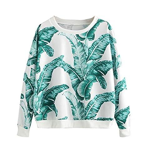 HCFKJ femmes rondes cou printi manches longues Sweatshirt casual Pull Tops shirt chemisier (M, vert)