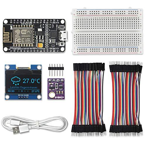 """KeeYees WiFi ESP8266 Wetterstation Kit für IoT mit Tutorial, GY-BME280 Barometrischer Sensor für Temperatur/Luftfeuchtigkeit/Luftdruck + 1,3""""OLED IIC LCD Display + 2 Satz Jumper Wire + Steckbrett"""