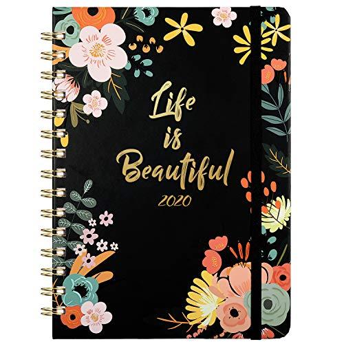 2020 Agenda- Planificateurs Semainier Agenda hebdomadaire A5 avec onglets mensuels, couverture florale 15x21cm avec reliure à deux fils, à bandes, no