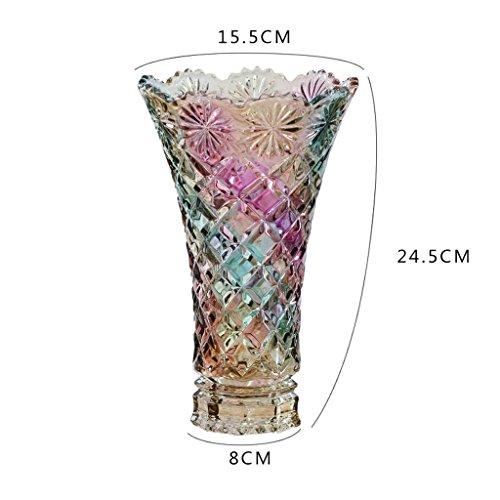 KTYXGKL Neue böhmische Bunte Glasvase Große Lucky Bamboo Lily Wasserkultur Bastelt Ornamente