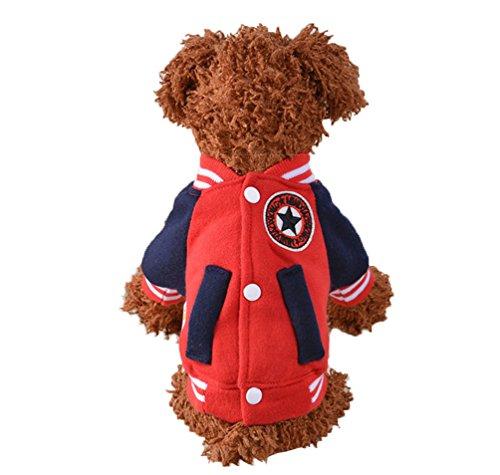 Hunde Baseball Kostüm - NashaFeiLi Haustier Kleidung Kalt Wetter Hund Mantel Warm Baseball Jacke Tasche Winter Kostüm für kleine Hunde