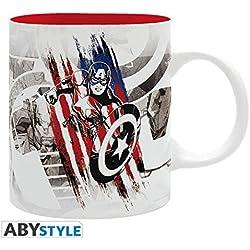 Abystyle Marvel–Taza Media–Capitán América Cap Diseño Unisex-Adult, abymug325