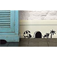 "Mouse Hole "" By the pool "" Skirting Board Wall Art Sticker Vinyl Decal "" 20cm x 6cm..UKSELLINGSUPPLIERS®"
