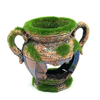 Dimart Simulation Resin Vase with Moss Aquarium Decorations Fish Tank Landscape Ornament 1