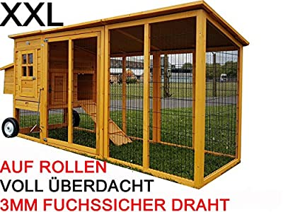 Large XXL Eggshell Buckingham Portable 8ft 100% Fox Proof 3mm Welded & Coated Wire Chicken Coop Hen House Movable on Wheels with Opening Roof Ark Poultry Run Nest Box Rabbit Hutch 2 to 4 birds (NO SHIPING TO NORTHERN IRELAND, ISLANDS, SCOTTISH HIGHLANDS)