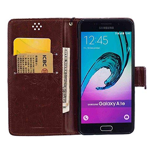 Guran® PU Leder Tasche Etui für iPhone 7 (4.7 Zoll) Smartphone Flip Cover Stand Hülle und Karte Slot Case-schwarz braun