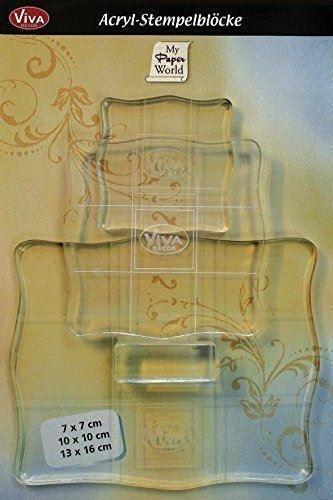 Viva Decor VD400390100 Acryl-Stempelblöcke mit Griff, 3er-Set, Synthetic Material, durchsichtig, 7x7, 10x10, 13x16 cm -