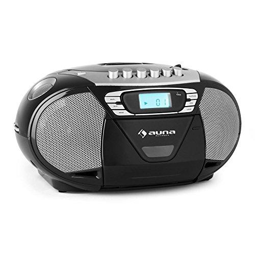 Auna KrissKross Radiocasete portátil USB MP3 CD negro