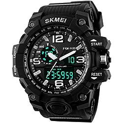 Gokelly Skmei Herren sk1155 a Multifunktional outdoor Sport Dual Time Analog Digital Armbanduhr Schwarz