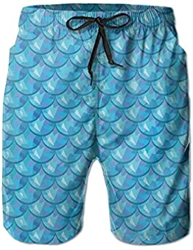 Fish Scale Gemotric Men's/Boys Casual Shorts Swim Trunks Swimwear Elastic Waist Beach Pants with Pockets
