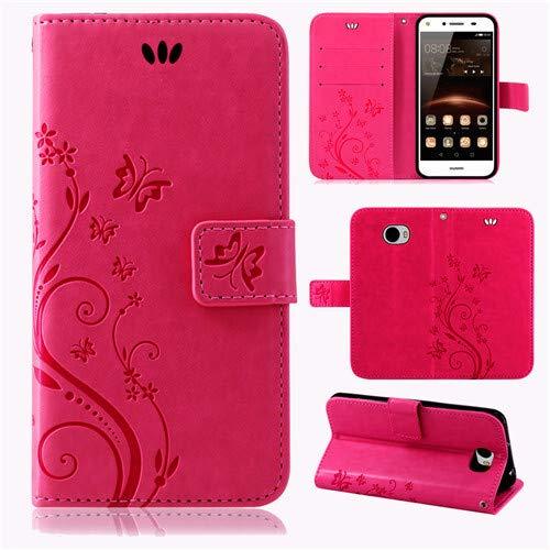 betterfon | Flower Case Handytasche Schutzhülle Blumen Klapptasche Handyhülle Handy Schale für Huawei Y6 II Compact Pink -
