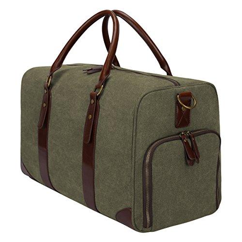 S-ZONE Weekender Handgepäck Reisetasche Canvas Segeltuch Sporttasche für Reise am Wochenende Urlaub A-Armee Grün
