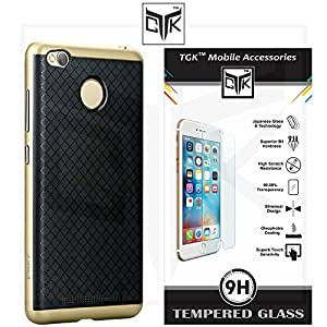 TheGiftKart™ Combo For Motorola Moto G PLUS 4th Gen (Combo of 1 Original iPaky Cover + 1 HD Tempered Glass) - Original iPaky Luxury High Quality Ultra-Thin Silicon Inner Black Back + PC Frame Bumper Back Case Cover (Golden) + TheGiftKart™ Premium HD Tempered Glass Screen Protector With Rounded Edges (Not Compatible With Motorola Moto G 4th Gen)