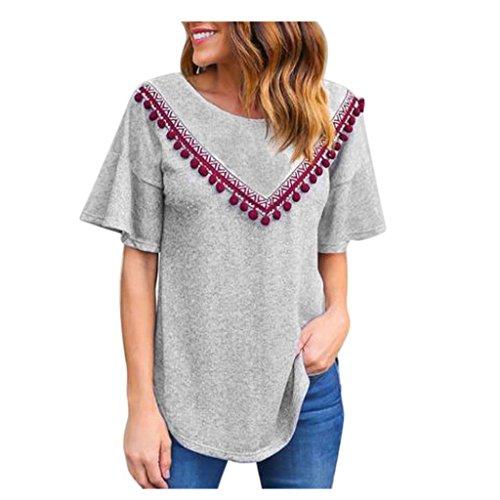 Koly_Le donne di modo di estate manica corta T-shirt casuale camicetta superiore (M, Grigio)