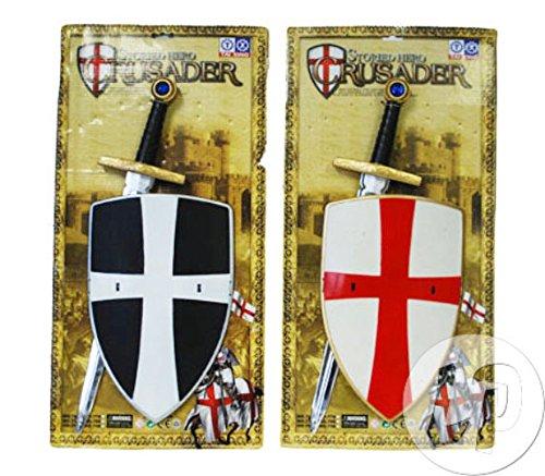 Lotto / Set di 6 pezzi - scudo e spada cavaliere crociato per il bambino
