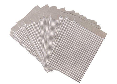Preisvergleich Produktbild 50 Stück braun beige weiß karierte Papiertüten; 13 x 18 cm; 1a Qualität aus dt. Produktion - für kleine Geschenke und vieles andere mehr.