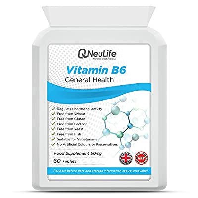 Vitamin B6 50mg - 60 Tablets - by Neulife Health and Fitness by Neulife Health and Fitness