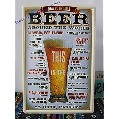 Metallo Vintage Bar segno , birra intorno al mondo pub retrò segno decorazioni a parete grotta uomo ,30x20cm