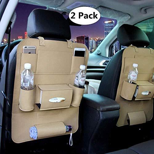 LPQSY Auto-Rücksitz-Organisator, Autositz-Rücksitz-Organisator, Rücksitz-Schutz-Speicher, Halter-Regenschirm-Gewebe-Kasten Großes Spielraum-Zusatz-PU-Leder (Farbe : Beige, Size : 2 Pack)