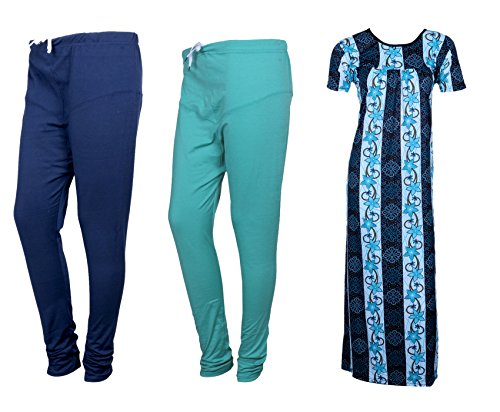 IndiWeaves Women Premium Nighty and Legging Combo Pack(Pack of 1 Nighty/Maxi and 2 Wollen Ruby Cut Legging)_Multicolor_Size-Meduim_715253173210-01-IW-P3-M