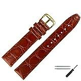 MARBURGER Unisex Uhrenarmband 20 mm Leder Braun - Rindsleder, Kroko Prägung - Ersatzarmband, Schließe Gold - 5292032000220