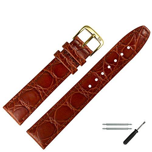 MARBURGER Uhrenarmband 16mm Leder Braun - Rindsleder, Kroko Prägung - Inkl. Zubehör - Ersatzarmband, Schließe Gold - 5291632000220 (Leather Alligator-prägung Genuine)