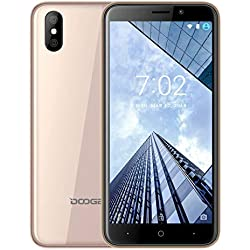 DOOGEE X50L Telephone Portable Debloqué Pas Cher 4G Android Go, Smartphone Triple Emplacement 2 Nano SIM + 1 MicroSD, Moblie MT6737M 1Go RAM+ 16Go Rom Dual 5 + 0.3MP Camera FaceID-Or