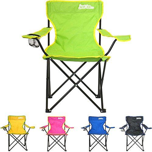 just be…® Folding Camping Chair – Light Green with Yellow Trim