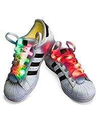 Nylon LED Glow Schnürsenkel, KALA Blinkende Sicherheitsleuchten Schuhe Schnürsenkel für Party Hip-Hop Tanzen Laufen Mode LED Light-Spot Reflektierende Armband Zyklus, Flache Elastische Schnürsenkel
