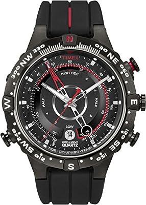 Timex Intelligent Quartz - Reloj análogico de cuarzo con correa de silicona para hombre, color negro