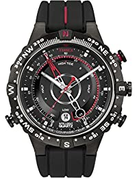 Timex Men's T2N720 Quartz Tide Temp Compass Watch with Black Dial Analogue Display and Black Silicone Strap