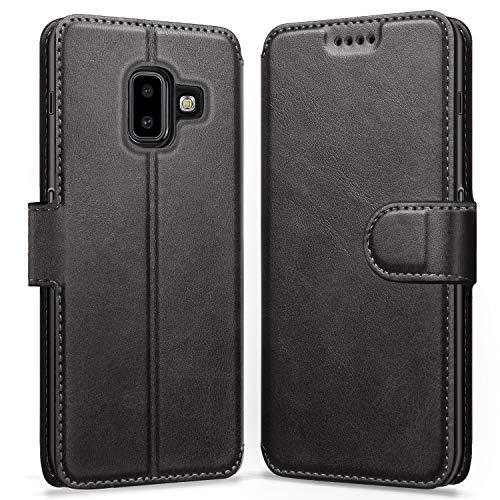 ykooe Galaxy J6 Plus 2018 Hülle, Flip Wallet Handy Schutzhülle Leder Handyhülle für Samsung Galaxy J6 Plus (2018) Tasche – Schwarz