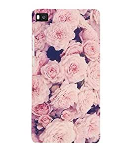 For Huawei P8 :: Huawei Ascend P8 pnk rose, pink flower,floral pattern, flower Designer Printed High Quality Smooth Matte Protective Mobile Case Back Pouch Cover by APEX
