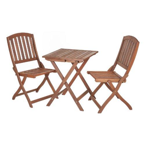 Alfresia Sienna Holz Klapp-Bistro Outdoor Gartenmöbel Tisch & Stühle-Set -