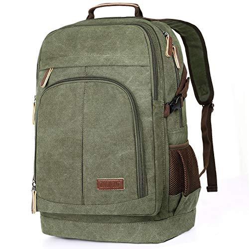 Canvas Rucksack Herren 35L Rucksack Computer 17.3 Zoll Backpack Backpack für Uni Sport Outdoor Reise (Grün 8)
