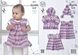 King Cole Double Knitting Pattern Dress Tunic Coat & Hat Set with Bows Baby Drifter DK (4311) by King Cole