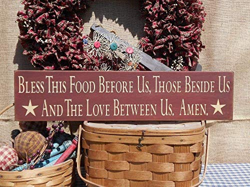 Monsety Bless This Food Before Us These Beside Us and The Love Between Us Amen Farmhouse Kitchen bemalt 45,7 cm Spruch Home Decor Wall Art Plakette Geschenk -